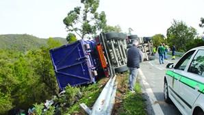 Condutor ferido após despiste de camião
