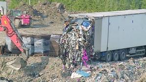 Resíduos depositados no aterro