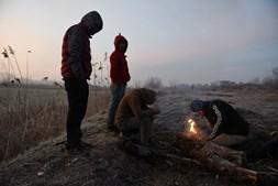 Migrantes caminham perto da fronteira da Turquia para chegar à Grécia
