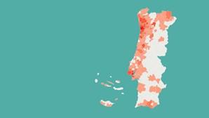 26 concelhos já ultrapassam os 100 infetados por coronavírus. Veja aqui os dados atualizados
