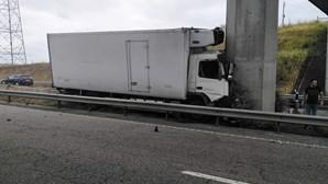 Camião despista-se e embate contra pilar de viaduto na A23 em Torres Novas. Veja as imagens