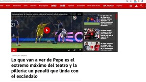 """""""Um penálti que roça o escândalo"""": Espanhóis criticam lance entre Pepe e Diogo Gonçalves"""