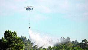 Nove meios aéreos combatem fogo em Rio Maior