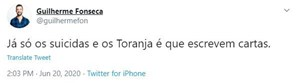Publicação escrita por Guilherme Fonseca após a morte de Pedro Lima