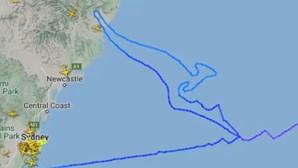 Desenho de Canguru nos céus marca o último voo do Boeing 747