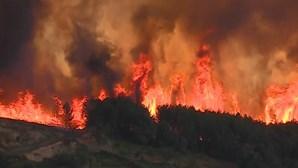Mais de 600 bombeiros combatem incêndio com três frentes ativas em Castelo Branco
