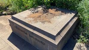 Estátua de Cristóvão Colombo derrubada e vandalizada em jardim do Funchal