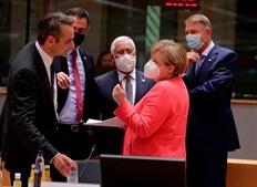 O primeiro-ministro da Grécia, Kyriakos Mitsotakis, o primeiro-ministro espanhol Pedro Sanchez, o primeiro-ministro de Portugal, Antonio Costa, a presidente da Romênia, Klaus Werner Iohannis, e a chanceler da Alemanha, Angela Merkel
