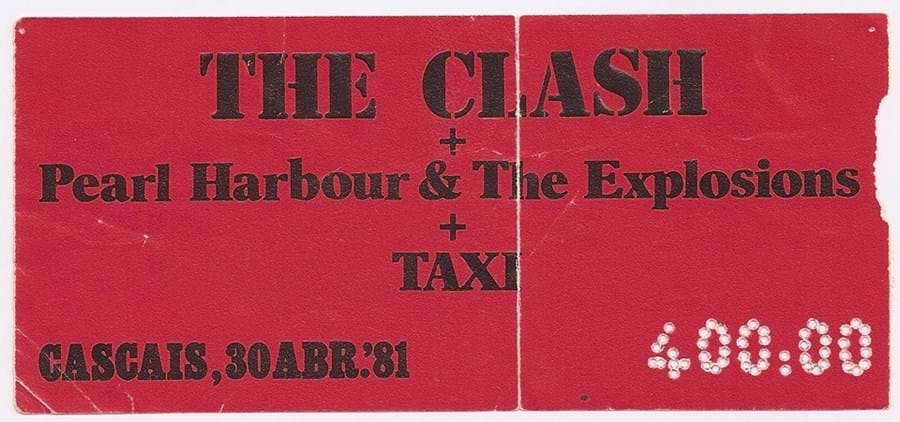 Bilhete concerto Taxi e The Clash