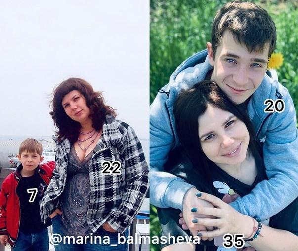Marina e o atual marido, seu enteado