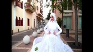 Drone capta momento em que noiva é surpreendida pelas explosões em Beirute. Veja as imagens