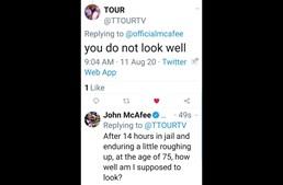 John McAfee explica a um seguidor no Twitter que esteve preso 14 horas