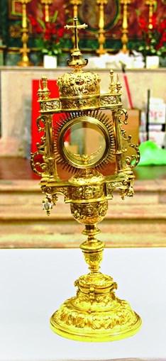 Cálice custódia de prata dourada (séc. XVIII), que pertence à Santa Casa da Misericórdia da Vidigueira, está em parte incerta