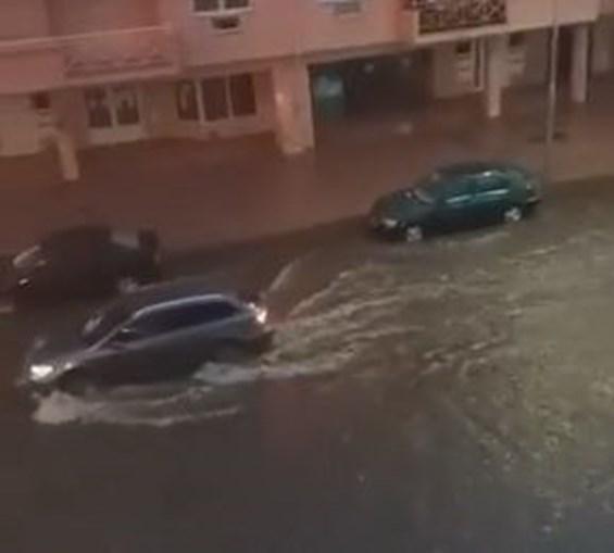 Ruas inundadas em Chaves