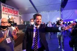 Presidente do Chega, André Ventura, à chegada para a II Convenção Nacional do partido