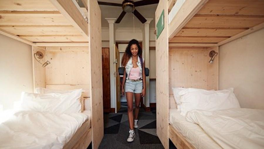 Camas em hostel