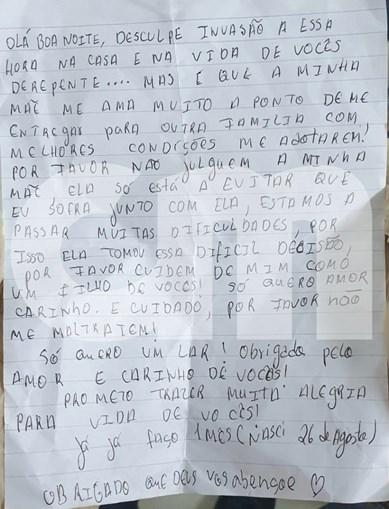 Carta encontrada junto a bebé abandonado no Cacém