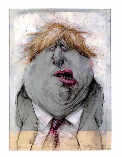 A caricatura de Boris Johnson, primeiro-ministro inglês