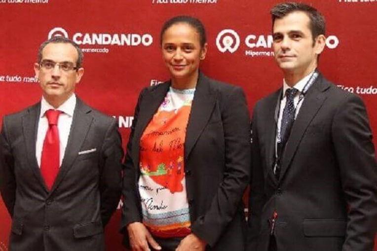 Miguel Osório com a empresária Isabel dos Santos. Entre 2015 e junho deste ano exerceu funções de CEO da cadeia angolana de supermercados Candando