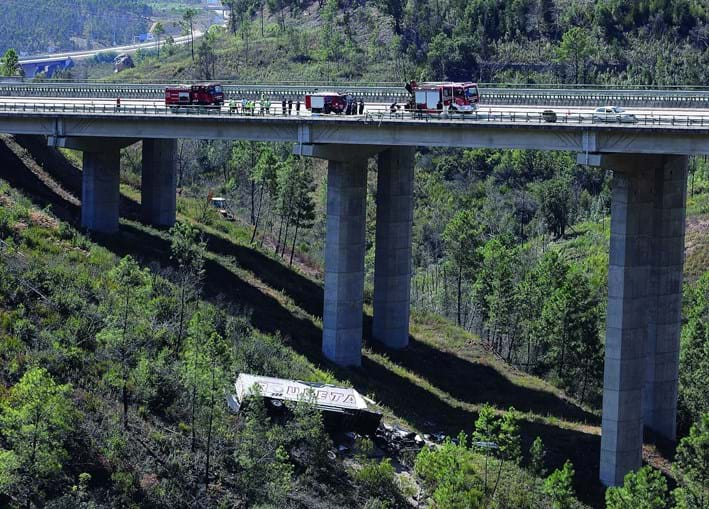 Pesado derrubou barreiras de proteção em viaduto junto à saída para Vila Velha de Ródão