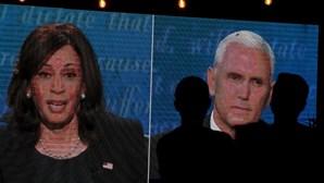 As imagens do debate entre Kamala Harris e Mike Pence