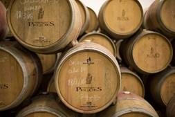 No armazém de barricas da adega, estagiam alguns milhões de litros de vinho antes de serem engarrafados