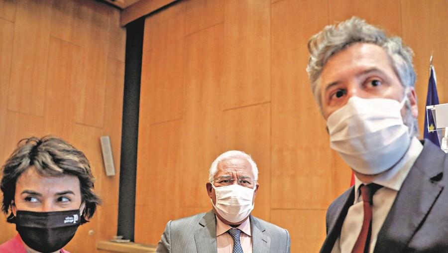 António Costa apresentou o Plano Nacional de Investimentos. Na foto, com a ministra da Agricultura, Maria do Céu Antunes, e o ministro das Infraestruturas, Pedro Nuno Santos