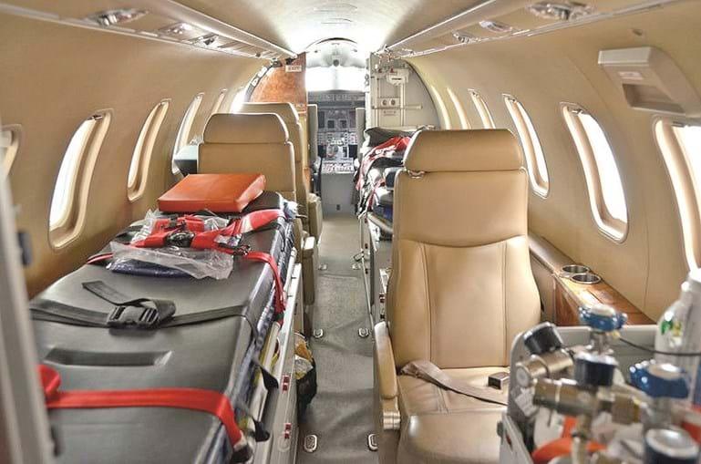 O interior do avião-ambulância em que Ronaldo foi transportado