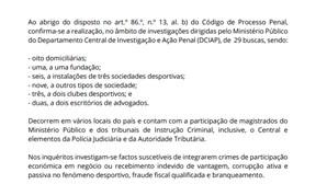 Ministério Público confirma buscas no Benfica e Santa Clara por suspeitas de corrupção
