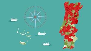 Navegue neste mapa e veja a distância de casos de Covid-19 para atingir a 'linha de risco' em cada concelho