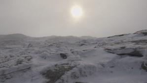 Pequeno nevão cobre Serra da Estrela de branco