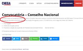Convocatória foi apagada do site do CHEGA