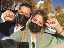 Jessica Athayde e Filipe Vargas na manifestação