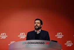 candidato do Partido Comunista Português (PCP) às proximas eleições presidenciais, João Ferreira, intervém durante o segundo dia do XXI Congresso