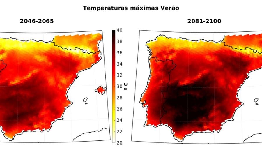 Previsão das temperaturas máximas no verão