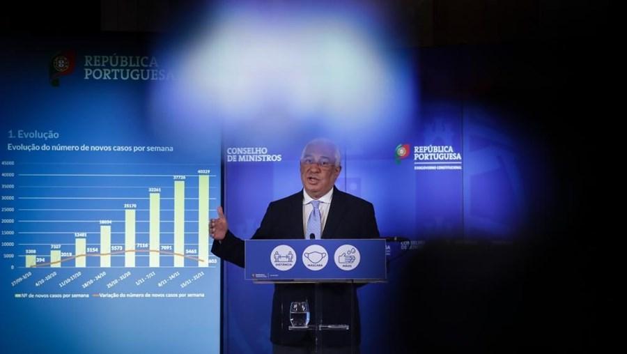 O primeiro-ministro, António Costa, apresenta em conferência de imprensa as conclusões da reunião do Conselho de Ministros extraordinária, realizada no Palácio Nacional da Ajuda, em Lisboa, 21 de novembro de 2020
