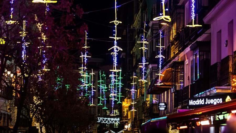 Luzes de Natal em Madrid, Espanha - Imagem de arquivo