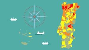 58 concelhos baixaram de escalão de risco devido ao número de casos de Covid-19. Veja no mapa como está o seu