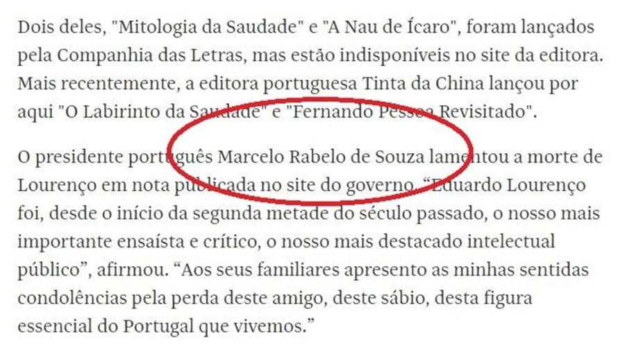 Influente jornal brasileiro erra duas vezes nome de Marcelo Rebelo de Sousa