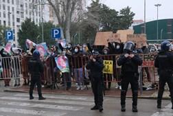 Manifestação durante campanha de André Ventura