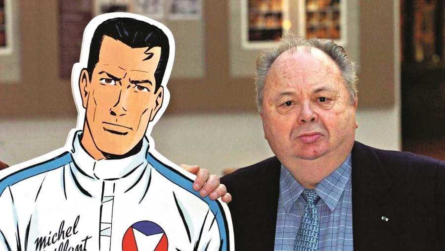Michel Vaillant ao lado do seu criador, Jean Graton. O autor nasceu em França mas, em 1947, mudou-se para a Bélgica