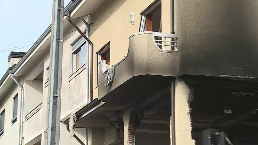 Habitação ficou destruída pela explosão em Valongo