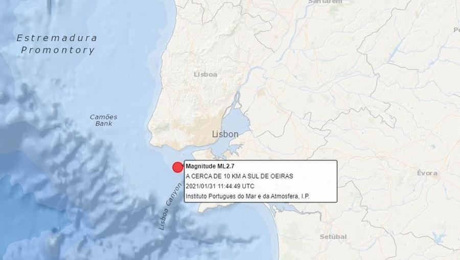 Sismo de magnitude 2.7 na escala de Richter registado em Oeiras. Foi sentido em Lisboa e Margem Sul