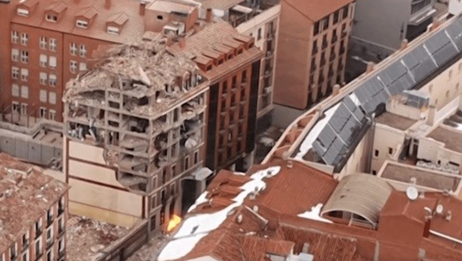 Imagens aéreas mostram local da explosão que destruiu prédio em Madrid