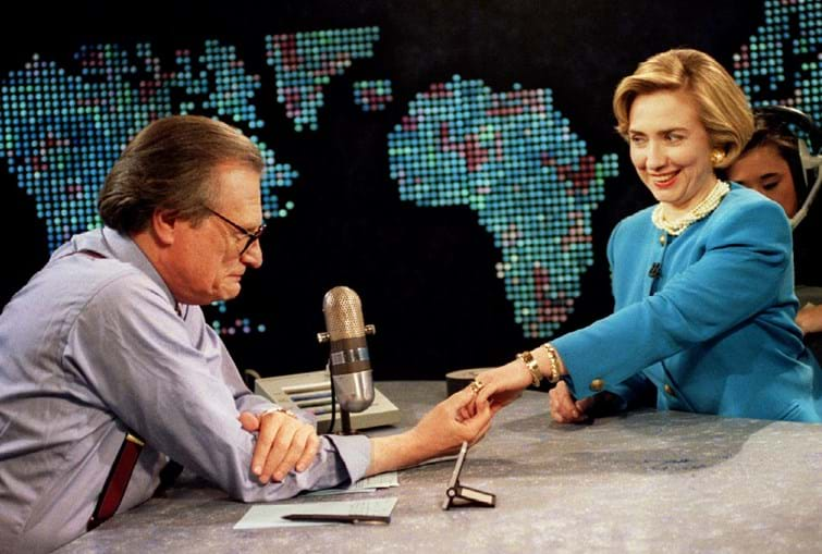 Larry King com Hillary Clinton