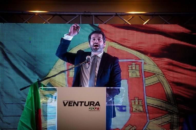 André Ventura discursa após conhecer resultados das presidenciais