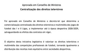 Diploma sobre comercialização centralizada dos direitos televisivos e multimédia dos jogos de futebol