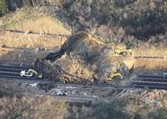 Deslizamento de terras provocado pelo terramoto
