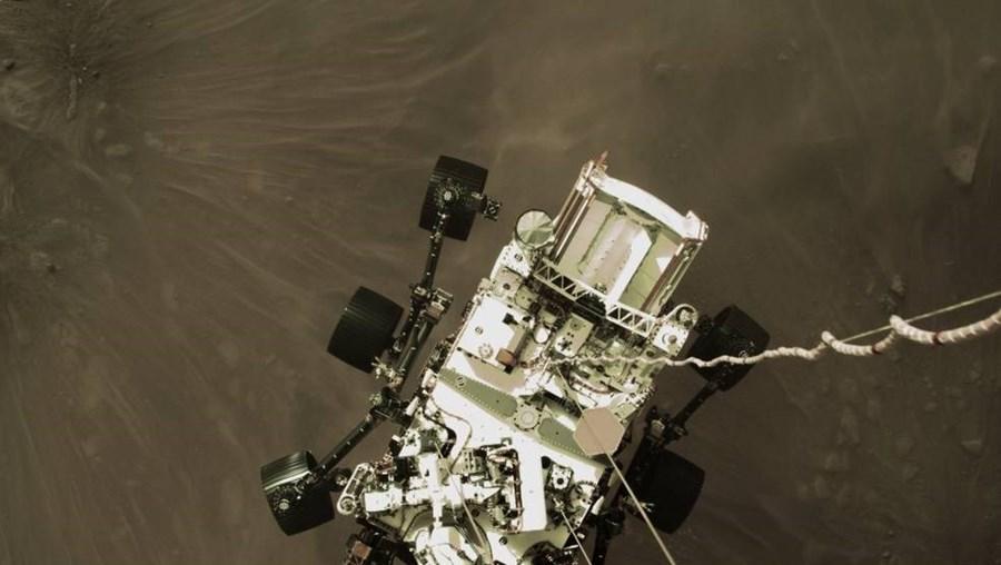 Momento em que o robô 'Perseverance' pousou em Marte