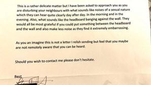 Vizinho escreve carta a mãe a pedir que filha pare com ruídos sexuais